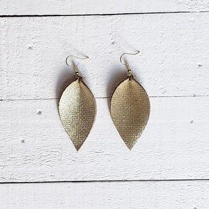2 Inch | Gold Petal Leather Earrings